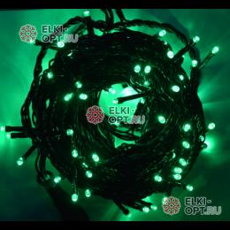 Светодиодная гирлянда 100LED цвет зеленый 10м провод черный IP44