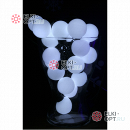 Светодиодная гирлянда Супер шар 5м d-4см цвет белый