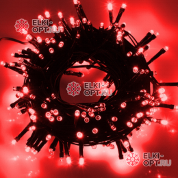 Светодиодная гирлянда цвет красный 24V 10м IP44 постоянное свечение провод черный