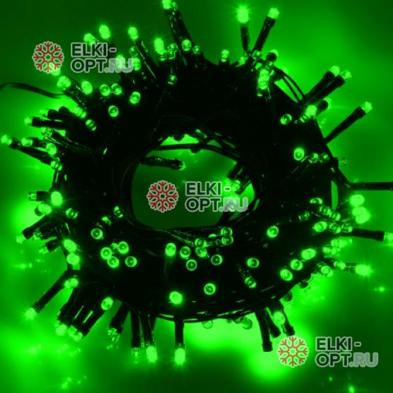 Светодиодная гирлянда цвет зеленый 24V 10м IP54 постоянное свечение провод черный