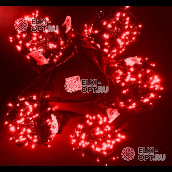 Светодиодная гирлянда Клип Лайт 5 нитей по 10м цвет красный постоянное свечение провод черный IP54 24V