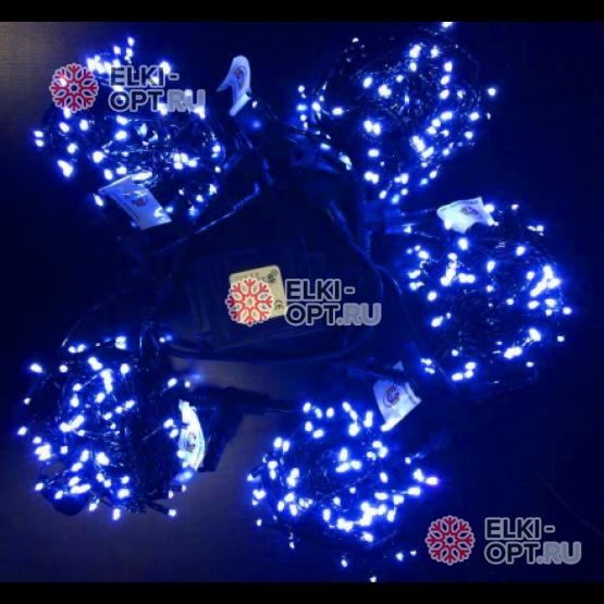 Светодиодная гирлянда Клип Лайт 5 нитей по 10м цвет синий постоянное свечение провод черный IP54 24V