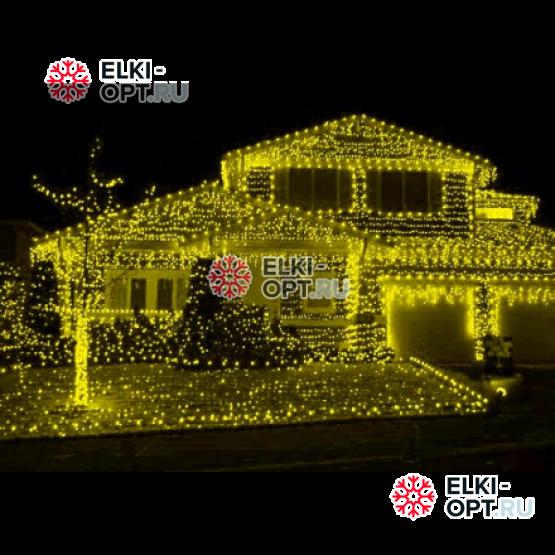 Светодиодная бахрома цвет желтый 3х0,5м  прозрачный провод IP44 постоянное свечение