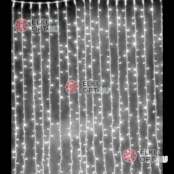 Cветодиодный занавес 2*3м  цвет белый 600LED  IP22 постоянное свечение, 600LED