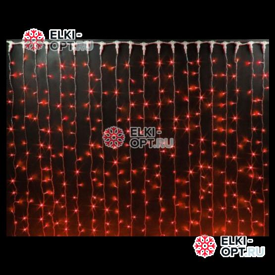 Светодиодный занавес 2х3м цвет красный провод прозрачный, IP44 постоянное свечение