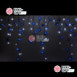 Светодиодная бахрома RICH LED (3х0.9 м) мерцающая прозр.пров. синий + белый