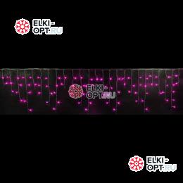 Светодиодная мерцающая бахрома RICH LED (3х0,9 м) прозрачный провод, цвет розовый