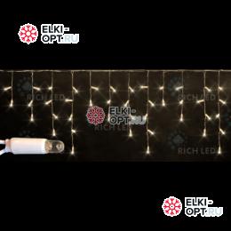 Светодиодная бахрома с герметичным колпачком Rich LED 3х0,5м провод белый резиновый, цвет теплый белый