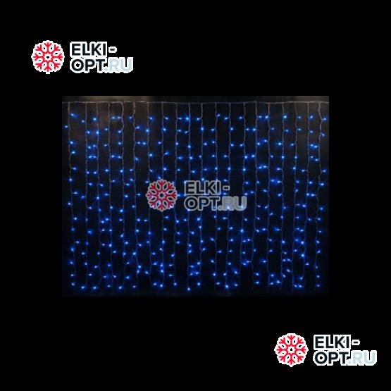 Светодиодный дождь RICH LED (2х1.5 м) черный провод цвет синий