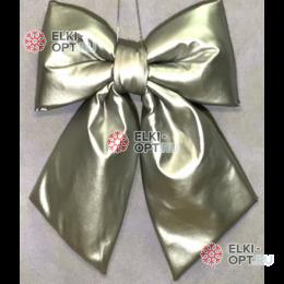 Бант эко-кожа 30см цвет серебро