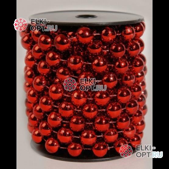 Бусы пластиковые d-6 мм цвет красный