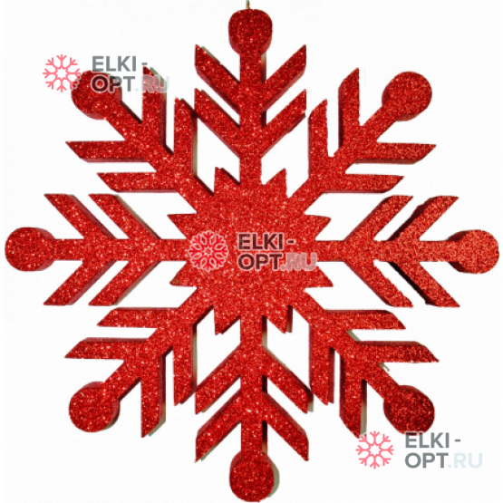 Снежинка Резная d-30см цвет красный (1шт/уп)