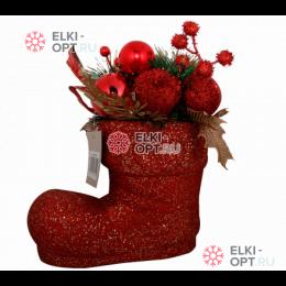 Декоративное украшение Рождественский сапожок цвет красный