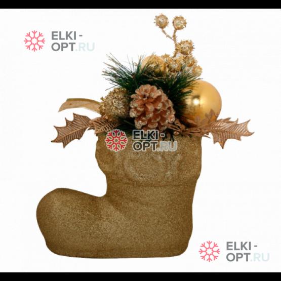 Декоративное украшение Рождественский сапожок  цвет золотой