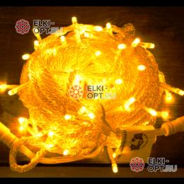 Светодиодная гирлянда 10м цвет желтый провод прозрачный 10шт х 850руб 220V