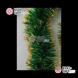 Мишура Московская d-5см цвет зеленый с золотом длина 2м  100шт х38руб