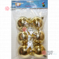 Шары пластиковые d-6см цвет золотой глянец (6шт/уп) 72уп х 85руб