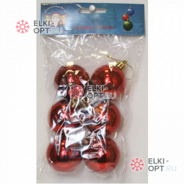 Шары d-6см цвет красный глянец