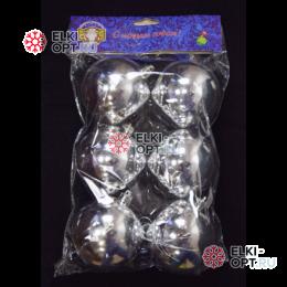 Шары d-8см цвет серебро глянец