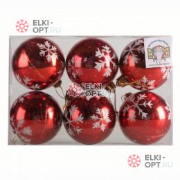 Набор елочных шаров 6см цвет красный со снежинками