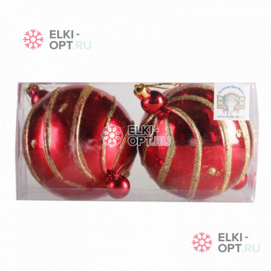 Набор Елочных шаров с рисунком 10см  цвет красный