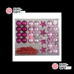Набор елочных украшений (37 предметов) цвет розовый